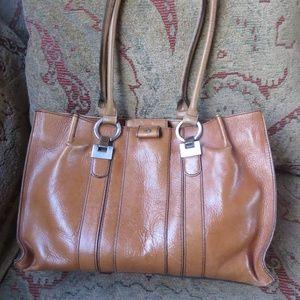 Etienne Aigner tan leather crossbody bag, medium